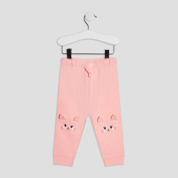 Pantalon jogging bébé fille rose fluo