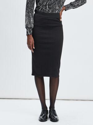 Jupe crayon taille elastiquee noir femme