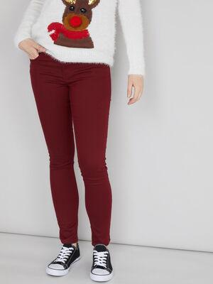Pantalon skinny taille basse bordeaux femme
