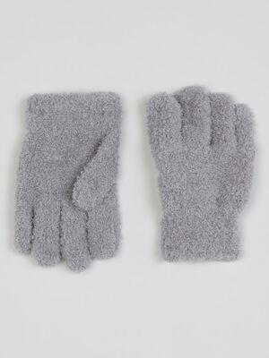 Gants maille douce gris mixte