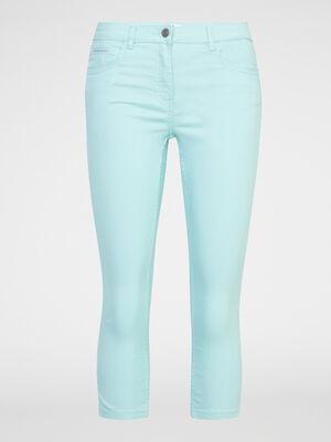 Pantacourt slim uni bleu turquoise femme