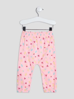 Pantalon droit rose fluo bebef