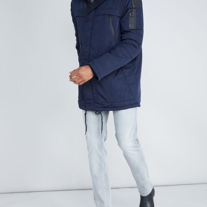 Parka à capuche avec poches homme bleu marine