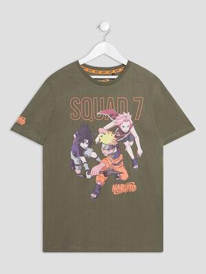 T shirt manches courtes Naruto vert kaki garcon