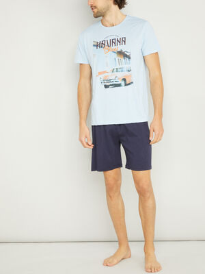 Pyjama court avec imprime bleu homme