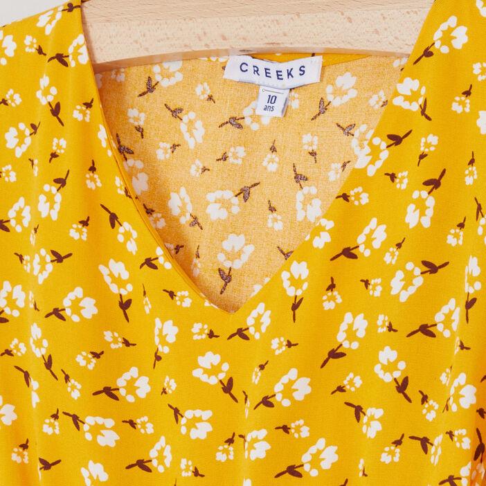 Robe à fleurs avec volant fille jaune