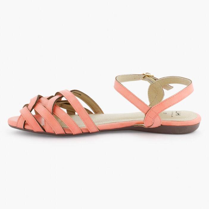 Sandales lanières entrecroisées femme rose
