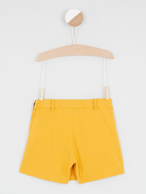 Jupe short unie avec boutons jaune moutarde fille