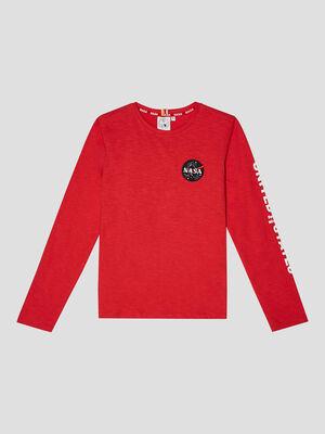 T shirt manches longues NASA rouge garcon