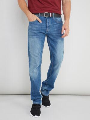 Jean straight avec ceinture denim double stone homme