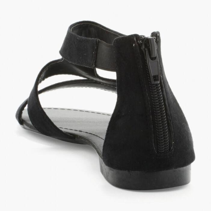 Sandales unies zip talon femme noir