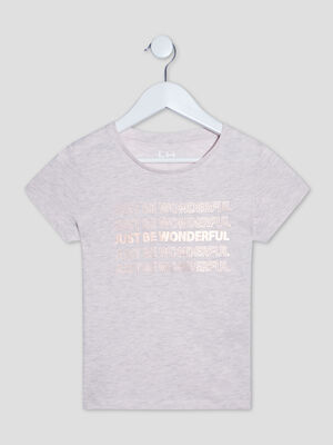 T shirt manches courtes rose fille