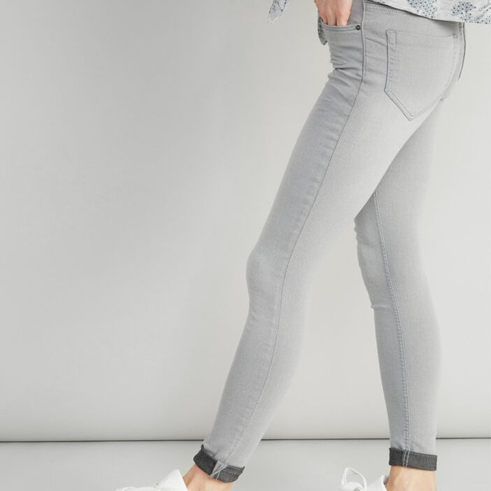 Jean skinny taille basse femme gris