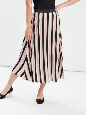 Jupe longue evasee plissee multicolore femme