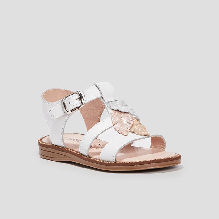 Sandales plates en cuir fille blanc