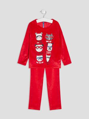 Ensemble pyjama 2 pieces rouge garcon
