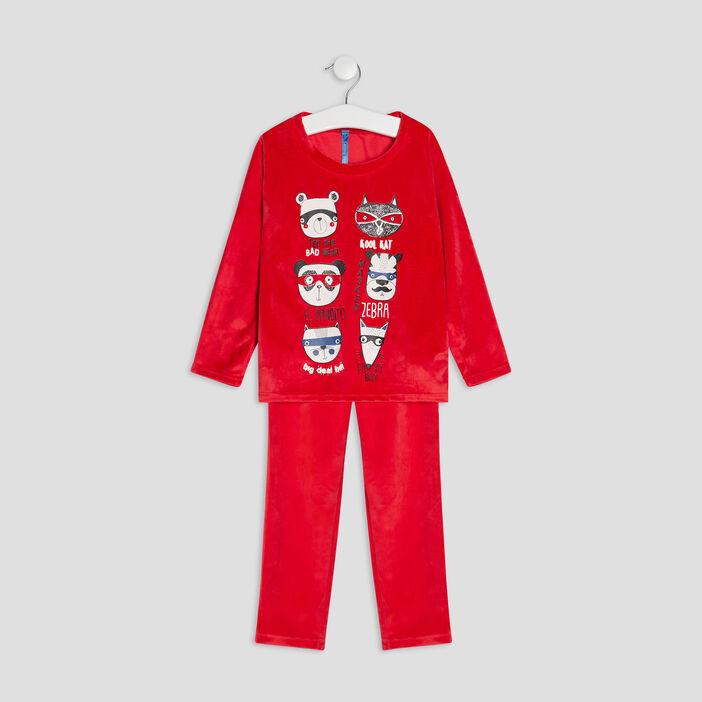 Ensemble pyjama 2 pièces garçon rouge