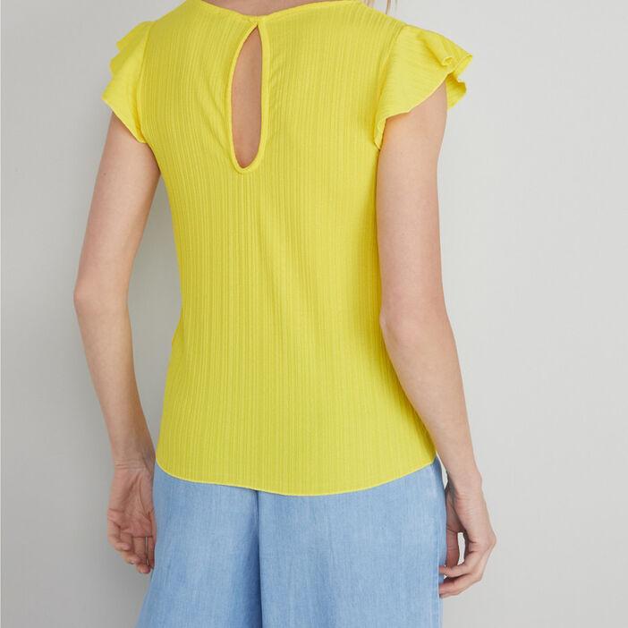 T-shirt manches volant base nouée femme jaune