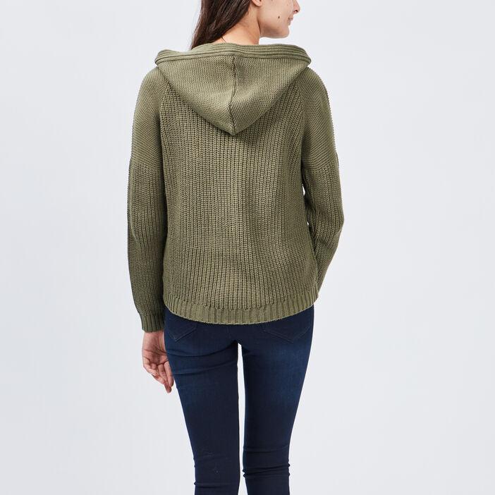 Gilet à capuche femme vert kaki