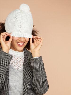 Bonnet maille metallisee avec torsades ecru femme