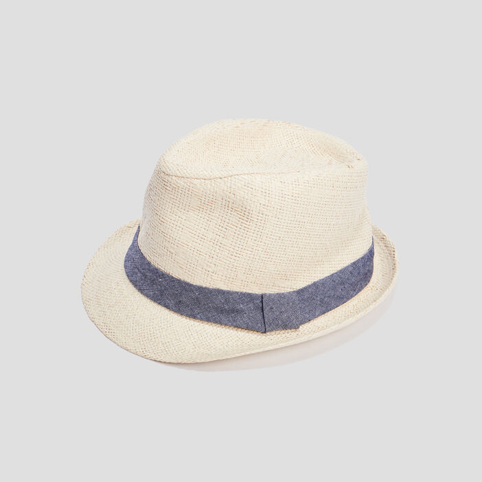 Chapeau trilby avec ruban garçon beige