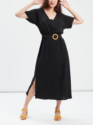 Robe longue droite ceinturee noir femme
