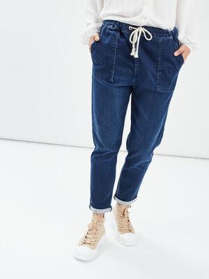 Jeans droit taille a coulisse denim stone femme