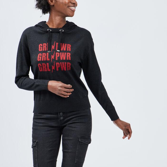 Pull à capuche Liberto femme noir