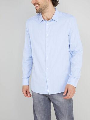 Chemise col classique en coton bleu ciel homme