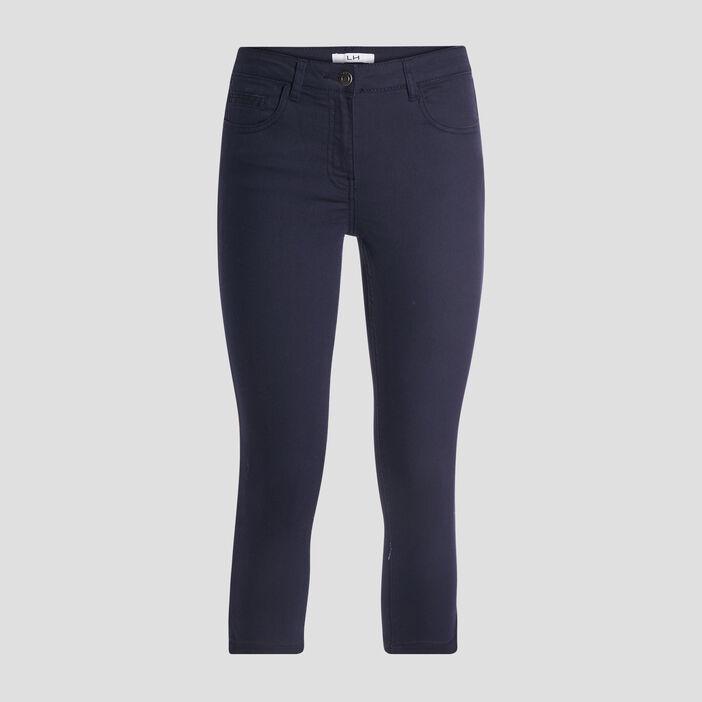 Pantacourt slim en jean femme bleu marine