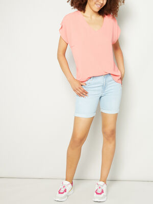 Short slim en jean delave denim bleach femme