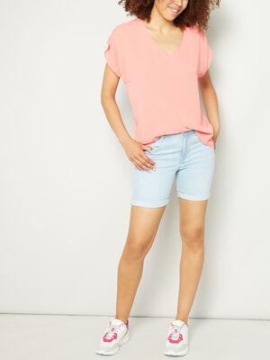 Short slim en jean delave denim bleach femme