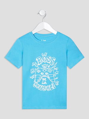 T shirt manches courtes bleu turquoise garcon
