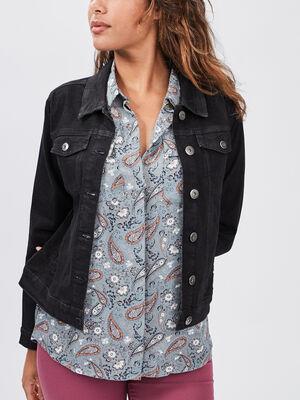 Veste droite en jean denim noir femme