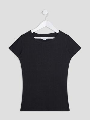 T shirt manches courtes cotele noir fille