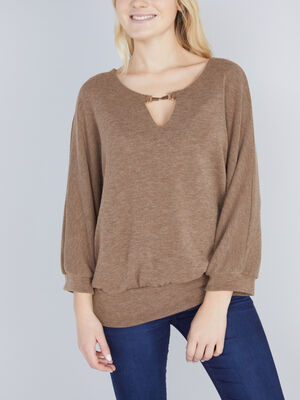 Pull col bijou taupe femme