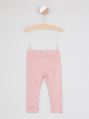 Jegging uni avec taille elastiquee rose fille