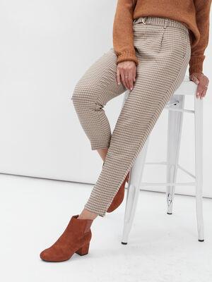 Pantalon carotte a pinces 78eme beige femme