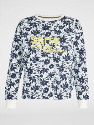 Sweatshirt col rond coton imprime ecru femme