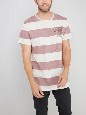 T shirt coton majoritaire rayures beige homme