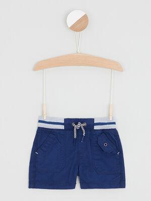 Bermuda coton a taille elastiquee bleu marine garcon