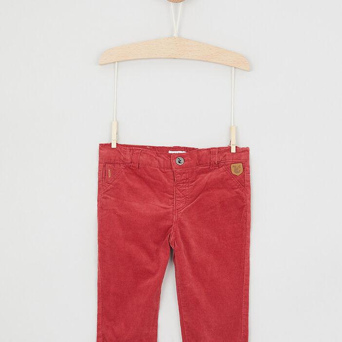 Pantalon uni 4 poches bébé garçon rouge