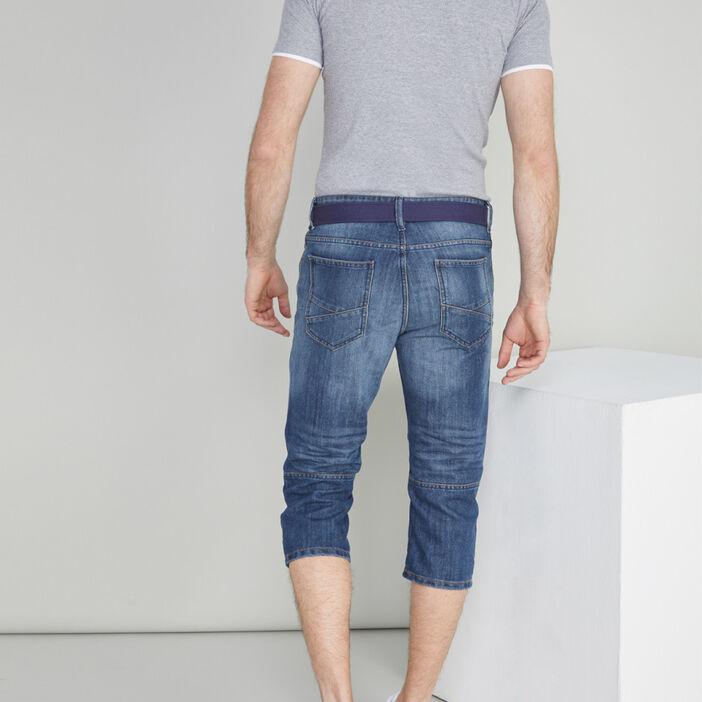 Bermuda jean et ceinture textile homme denim stone