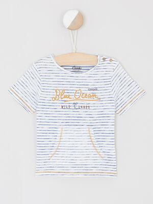 T shirt fines rayures poche kangourou ecru bebeg