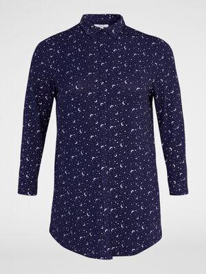 Chemise de nuit imprime bicolore bleu marine femme
