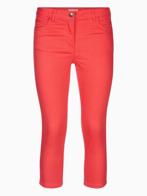Pantacourt slim uni orange corail femme