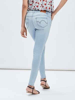 Jeans skinny effet used denim bleach femme