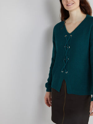Pull ample avec lacage vert femme
