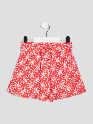 Short droit fluide rouge fille