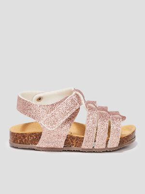 Sandales a paillettes rose bebe
